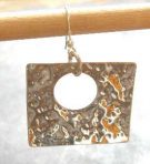 Large Hammered Silver Square Earrings (or 9ct Gold)