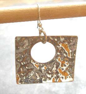 Large Hammered Silver Square Earrings