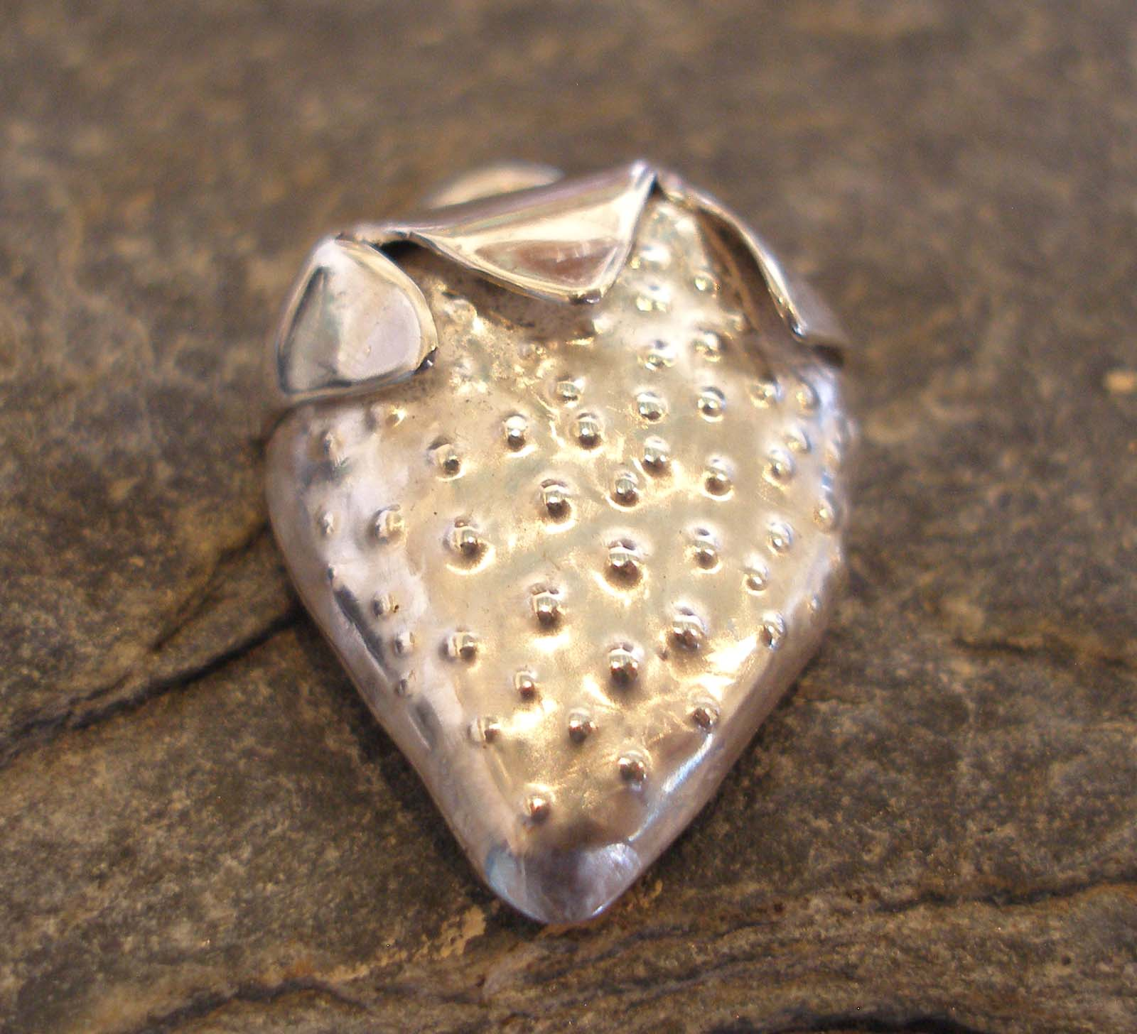 Sterling Silver Strawberry Pip Pendant