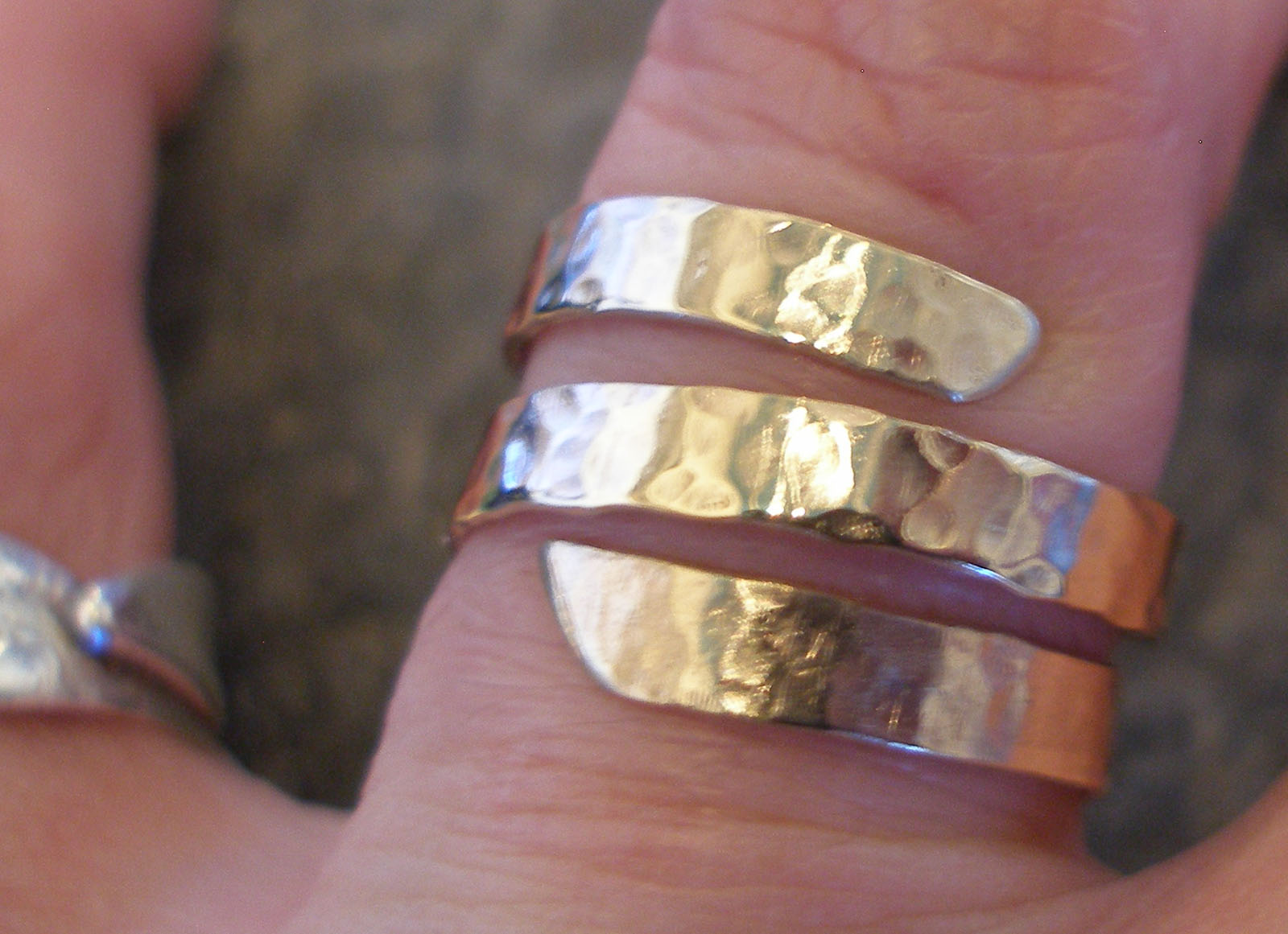 3-strand Thick Hammered Silver Ring