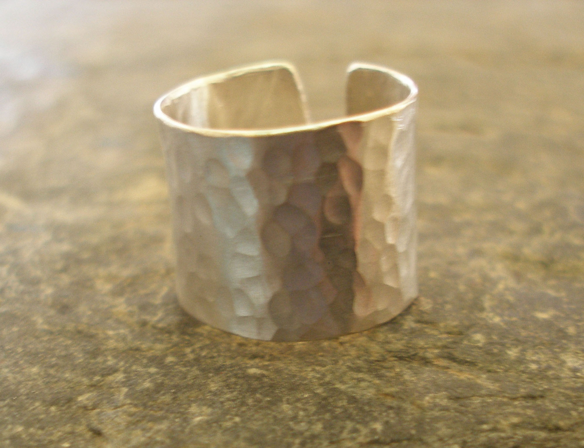 Deep Hammered Matt Satin Sterling Silver Ring