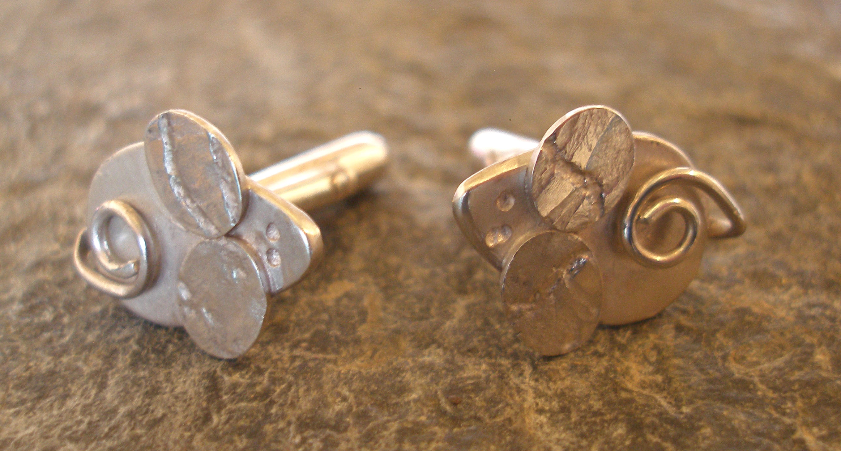 Sterling Silver Textured Mouse Cufflinks