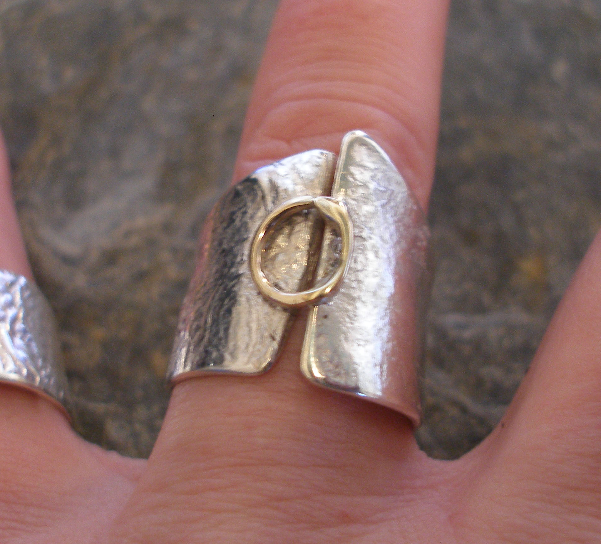 Undulating Silver and 9ct Gold Ring
