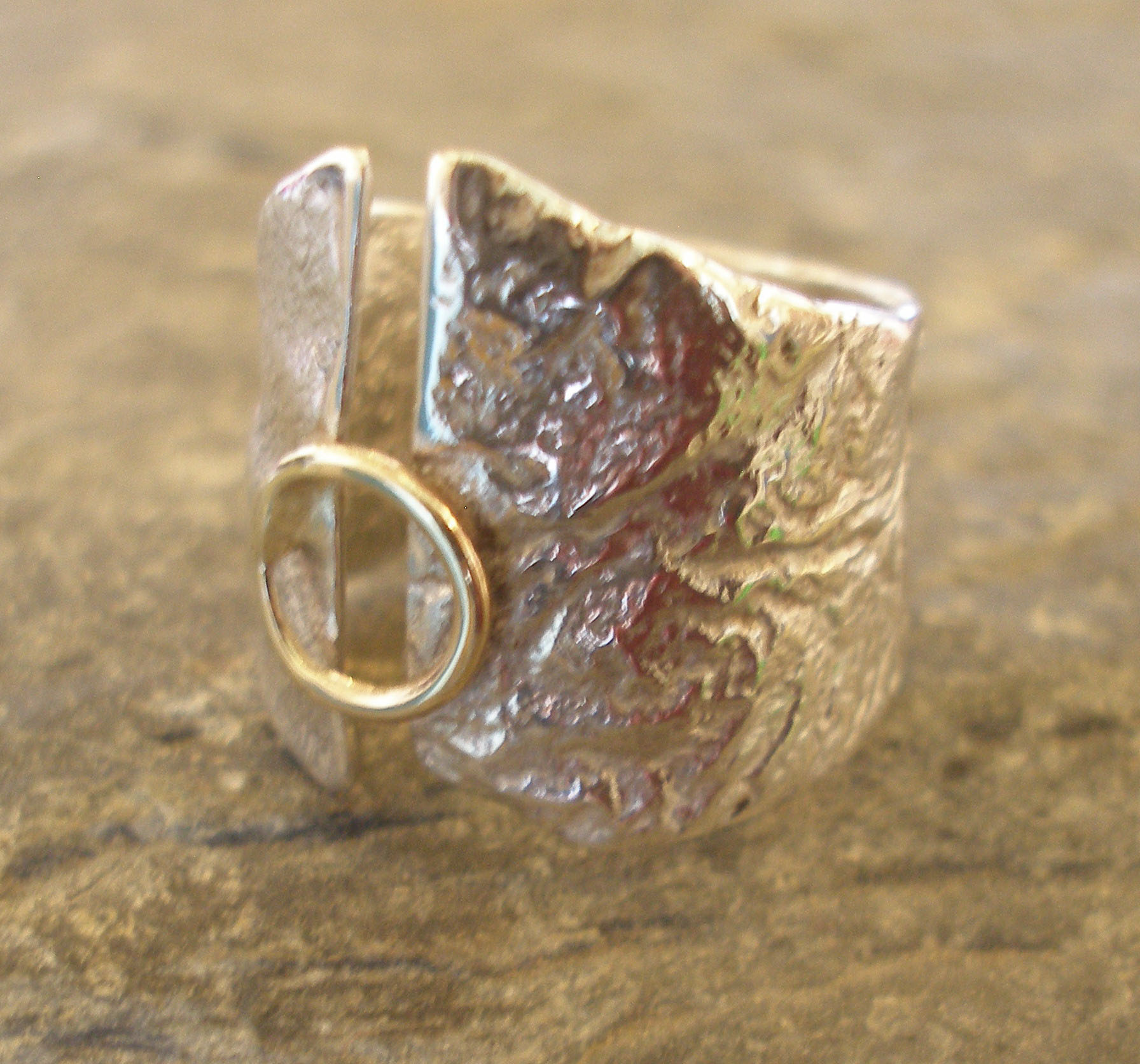 Undulating Sterling Silver and 9ct Gold Ring