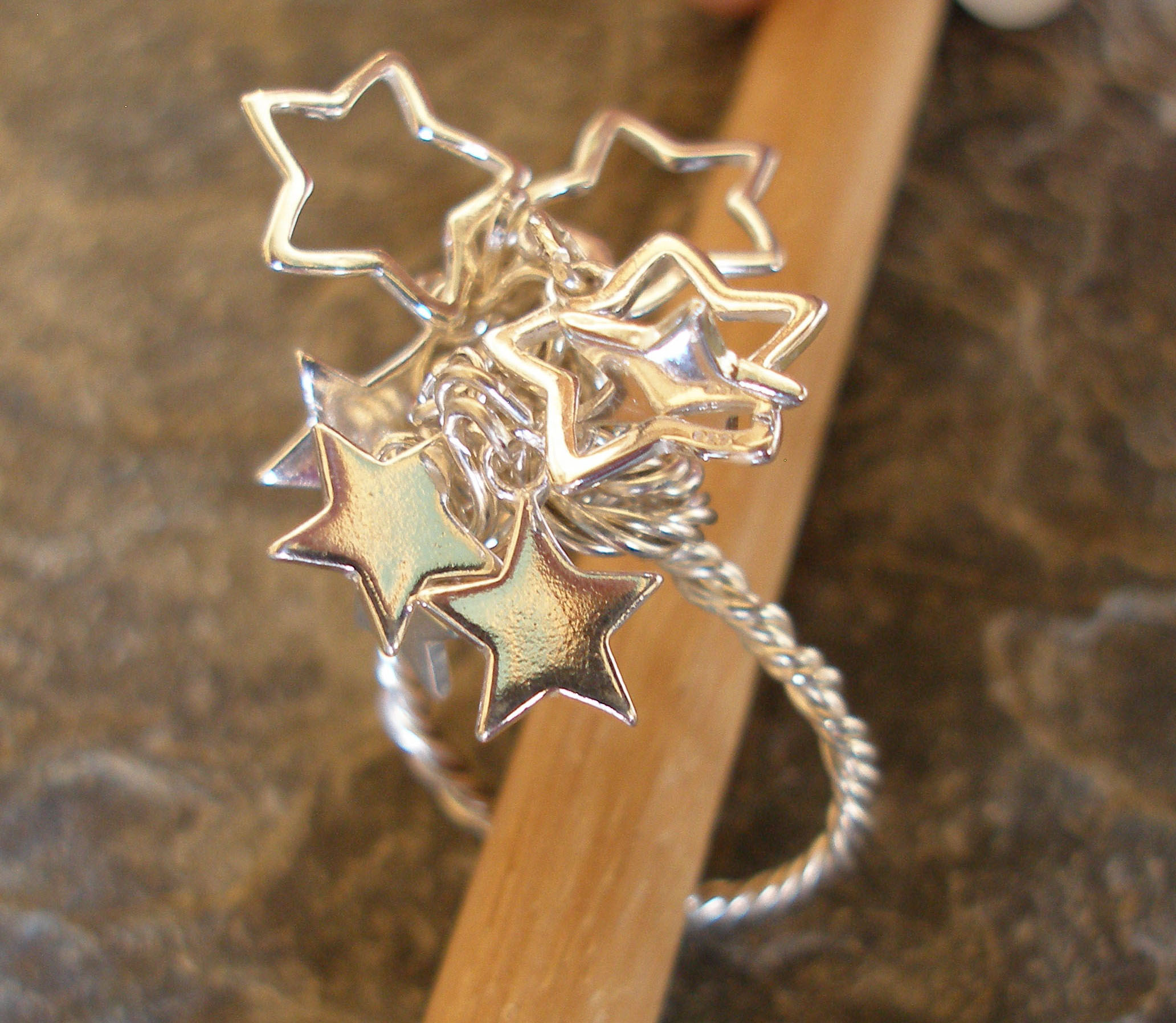 Sterling Silver Star or Heart Dangles Ring